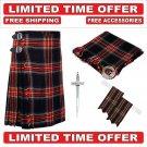 32 size black stewart Men's Scottish Traditional Tartan Kilt and Accessories Package