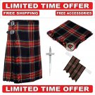 36 size black stewart Men's Scottish Traditional Tartan Kilt and Accessories Package