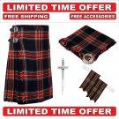 38 size black stewart Men's Scottish Traditional Tartan Kilt and Accessories Package