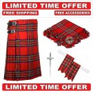 34  size royal stewart Men's Scottish Traditional Tartan Kilt and Accessories Package