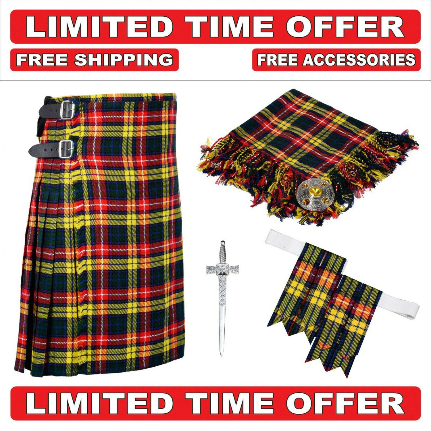 50   size buchnan Men's Scottish Traditional Tartan Kilt and Accessories Package