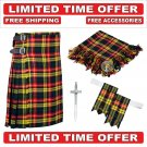 56 size buchnan Men's Scottish Traditional Tartan Kilt and Accessories Package