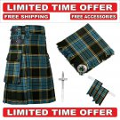 34 size Anderson Scottish Utility Tartan Kilt Package Kilt-Flyplaid-Flashes-Kilt Pin-Brooch