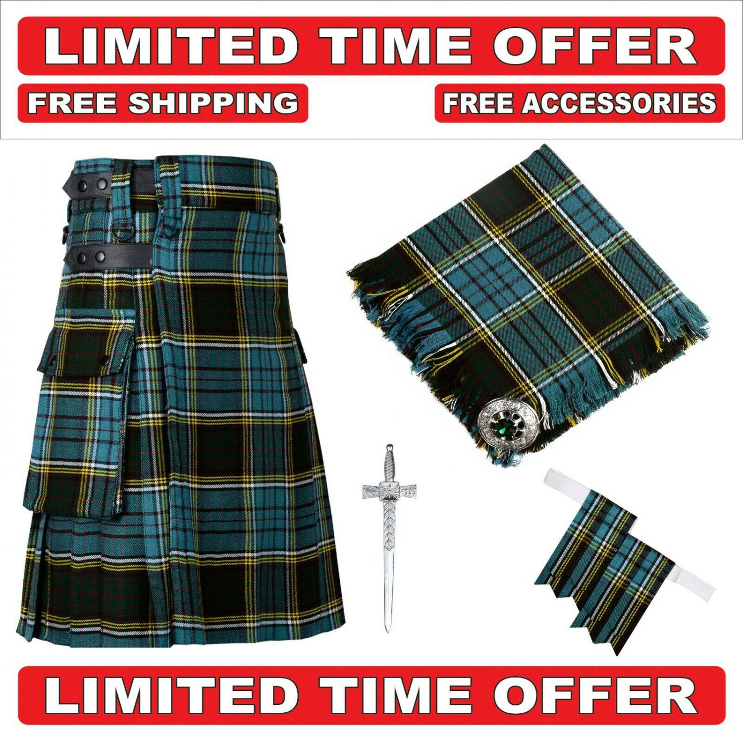 36 size Anderson Scottish Utility Tartan Kilt Package Kilt-Flyplaid-Flashes-Kilt Pin-Brooch