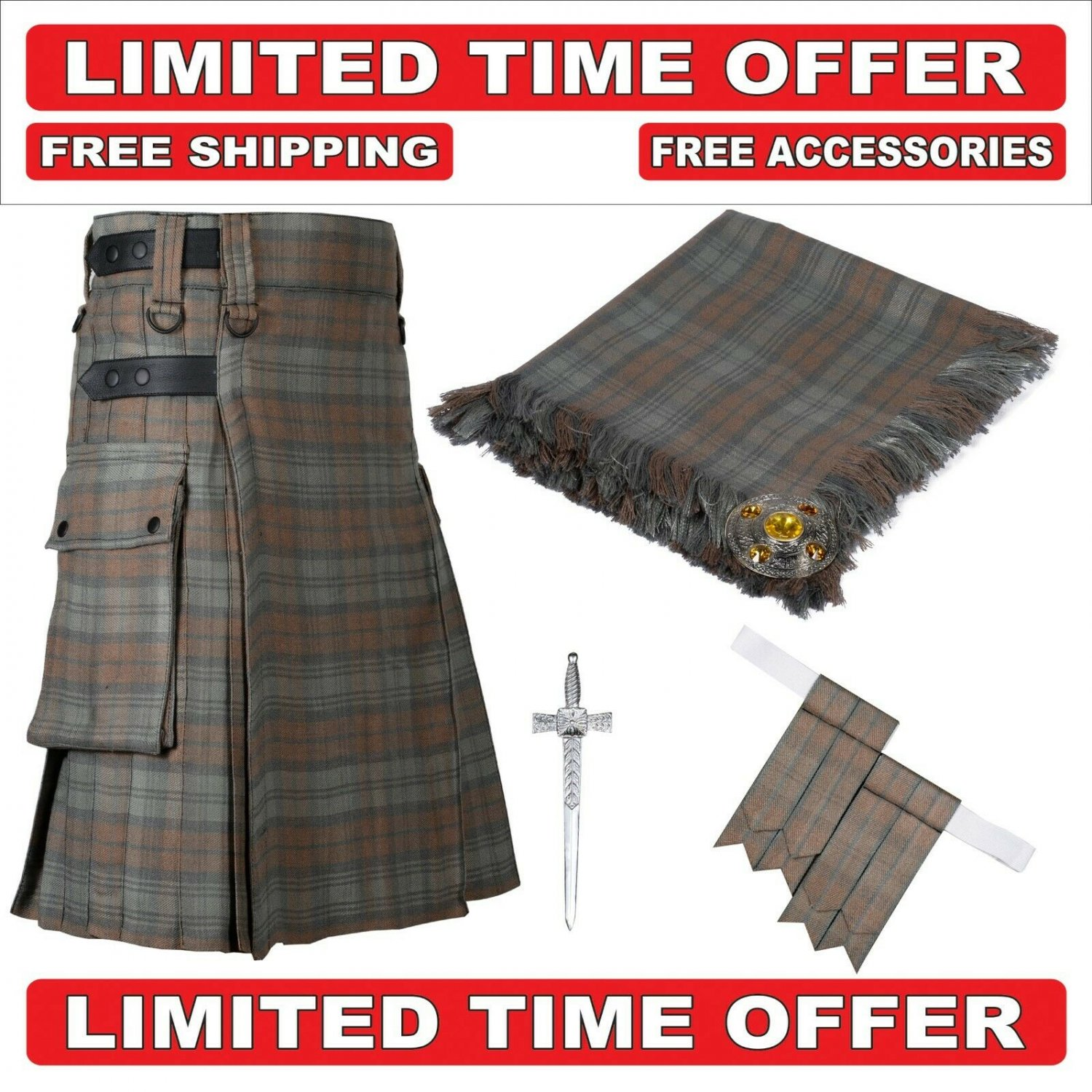 56 Black watch weathered Scottish Utility Tartan Kilt Package Kilt-Flyplaid-Flashes-Kilt Pin-Brooch