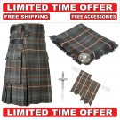 40 Mackenzie weathered Scottish Utility Tartan Kilt Package Kilt-Flyplaid-Flashes-Kilt Pin-Brooch