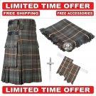 42 Mackenzie weathered Scottish Utility Tartan Kilt Package Kilt-Flyplaid-Flashes-Kilt Pin-Brooch