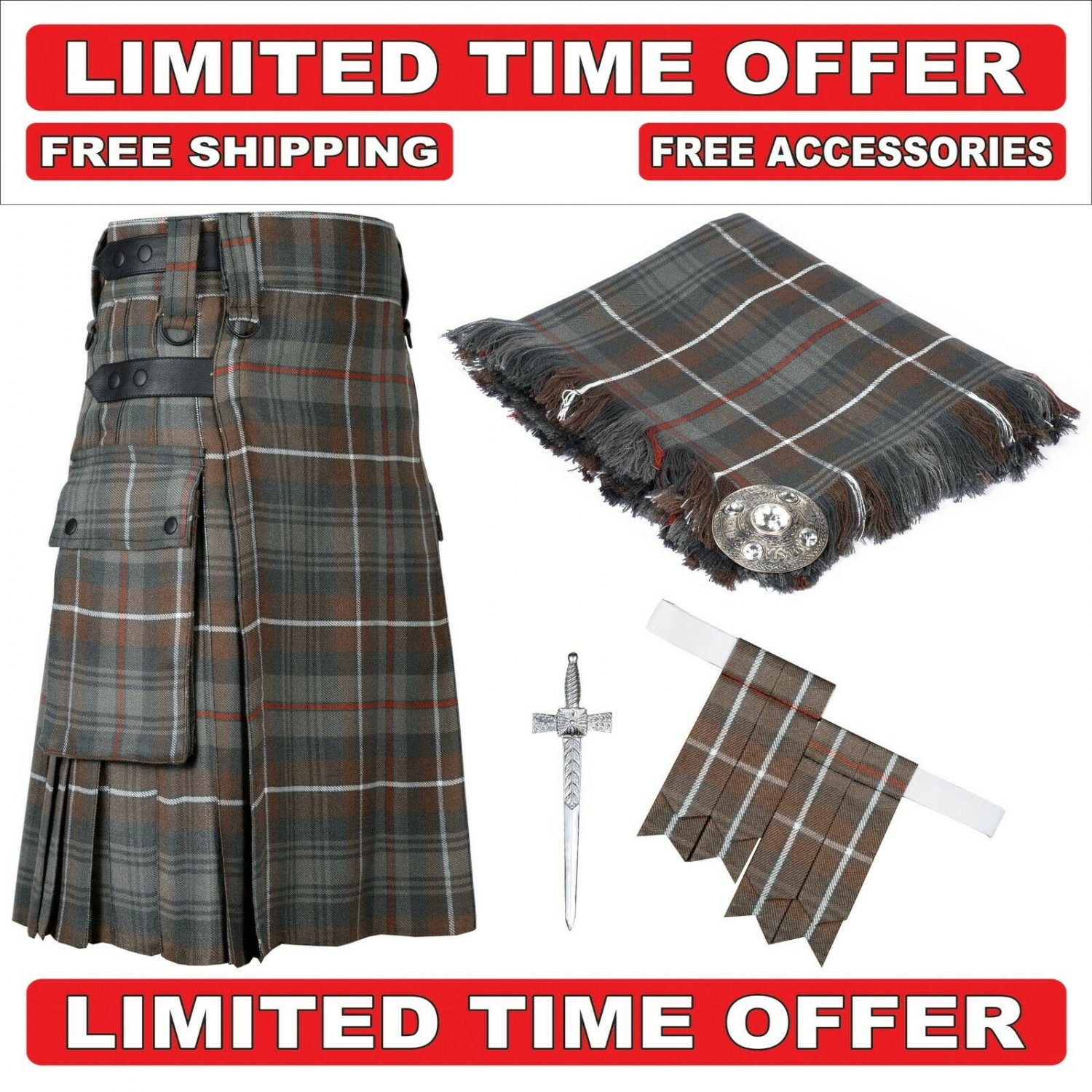 48 Mackenzie weathered Scottish Utility Tartan Kilt Package Kilt-Flyplaid-Flashes-Kilt Pin-Brooch