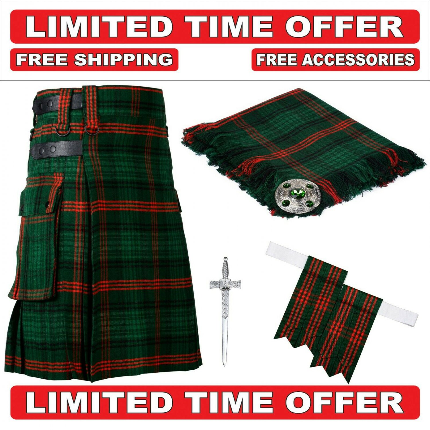 34 size rose Hunting  Scottish Utility Tartan Kilt Package Kilt-Flyplaid-Flashes-Kilt Pin-Brooch