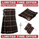 32 size Hunting Scott  Scottish Utility Tartan Kilt Package Kilt-Flyplaid-Flashes-Kilt Pin-Brooch