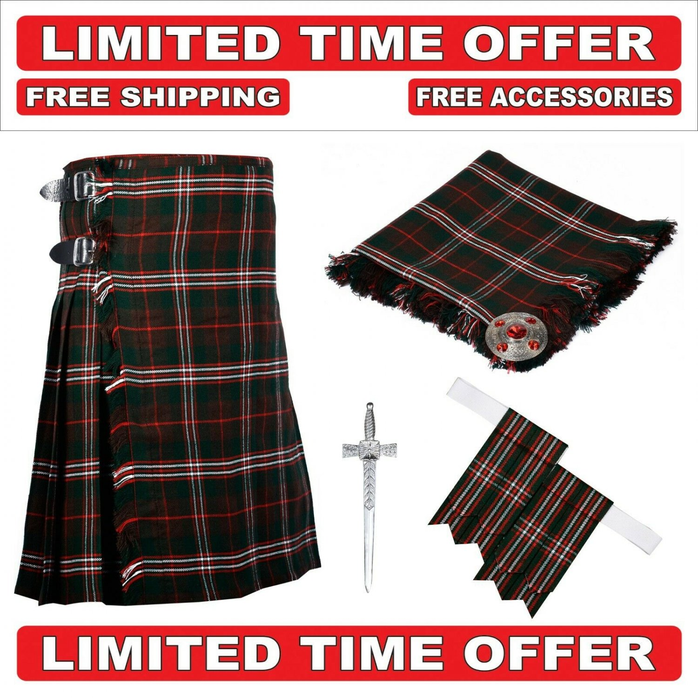 42 size Hunting Scott  Scottish Utility Tartan Kilt Package Kilt-Flyplaid-Flashes-Kilt Pin-Brooch