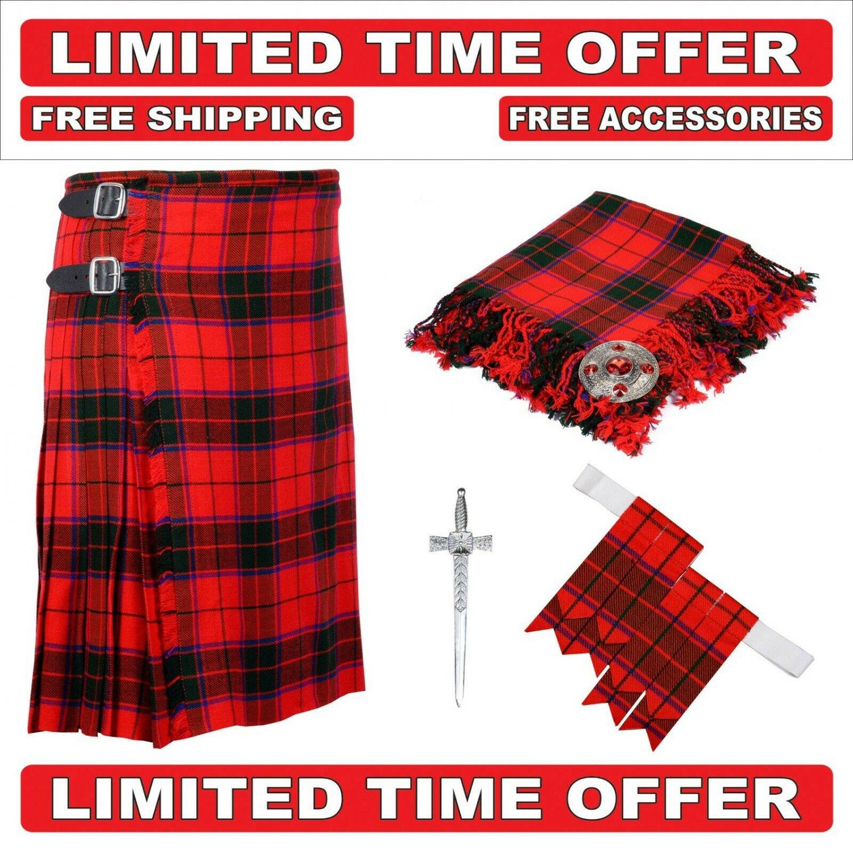 32 size Scottish rose Scottish Utility Tartan Kilt Package Kilt-Flyplaid-Flashes-Kilt Pin-Brooch