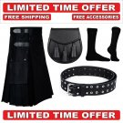 30 size black Men's Cotton Utility Scottish Kilt With Free Accessories and Free Shipping