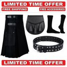 34 size black Men's Cotton Utility Scottish Kilt With Free Accessories and Free Shipping