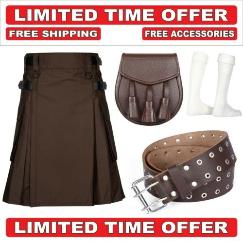 34 size brown Men's Cotton Utility Scottish Kilt With Free Accessories and Free Shipping
