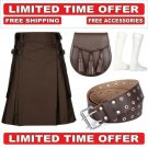 58 size brown Men's Cotton Utility Scottish Kilt With Free Accessories and Free Shipping