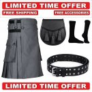 34 size grey Men's Cotton Utility Scottish Kilt With Free Accessories and Free Shipping