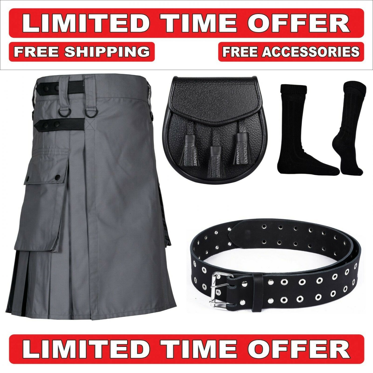 52 size grey Men's Cotton Utility Scottish Kilt With Free Accessories and Free Shipping