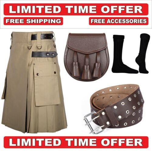 40 size khaki Men's Cotton Utility Scottish Kilt With Free Accessories and Free Shipping