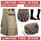 52 size khaki Men's Cotton Utility Scottish Kilt With Free Accessories and Free Shipping