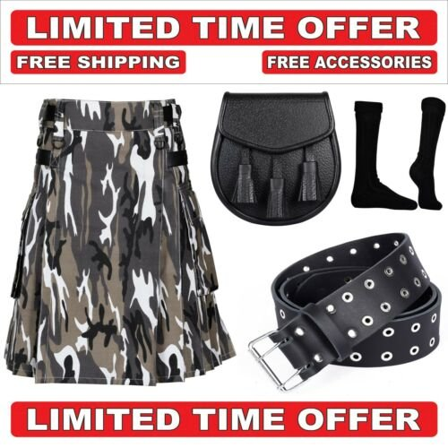 34 size urban camo Men's Cotton Utility Scottish Kilt With Free Accessories and Free Shipping