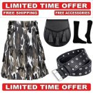 54 size urban camo Men's Cotton Utility Scottish Kilt With Free Accessories and Free Shipping
