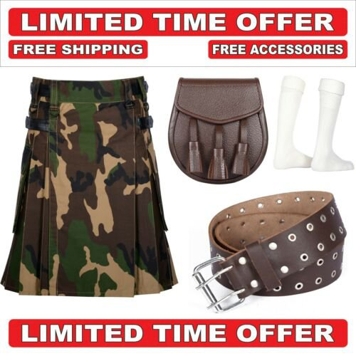44 size army camo Men's Cotton Utility Scottish Kilt With Free Accessories and Free Shipping