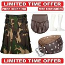56 size army camo Men's Cotton Utility Scottish Kilt With Free Accessories and Free Shipping