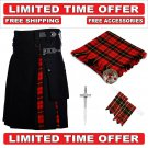 48 size Black Cotton Wallace Tartan Hybrid Utility Kilts For Men - Free Accessories - Free Shipping