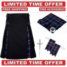 34 size Black Cotton pride Tartan Hybrid Utility Kilts For Men - Free Accessories - Free Shipping