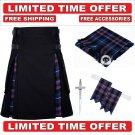 44 size Black Cotton pride Tartan Hybrid Utility Kilts For Men - Free Accessories - Free Shipping