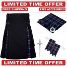 46 size Black Cotton pride Tartan Hybrid Utility Kilts For Men - Free Accessories - Free Shipping