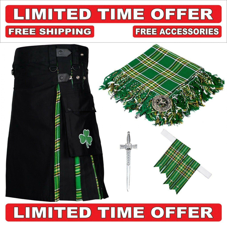 34 size Black Cotton Irish Tartan Hybrid Utility Kilts For Men - Free Accessories - Free Shipping