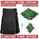 50 size Black denim Irish Tartan Hybrid Utility Kilts For Men - Free Accessories - Free Shipping