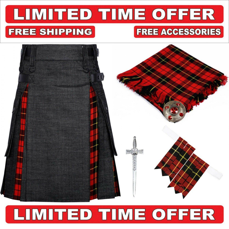 34 size Black denim Wallace Tartan Hybrid Utility Kilts For Men - Free Accessories - Free Shipping