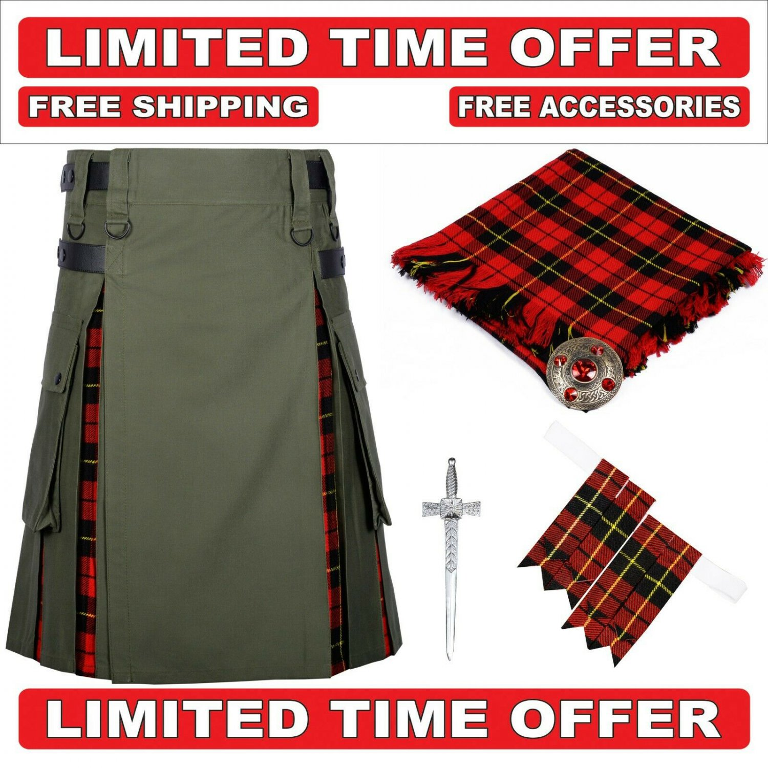 56 size Olive green cotton Wallace Tartan Hybrid Utility Kilts For Men.Free Accessories & Shipping