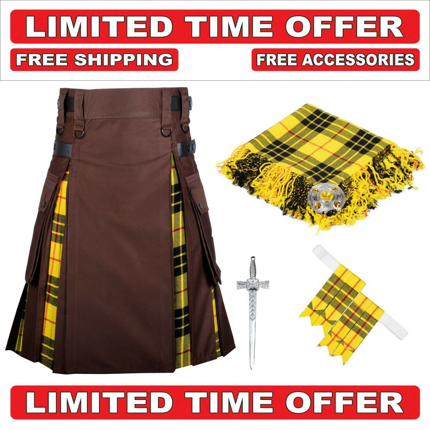 30 size Brown cotton Macleod Tartan Hybrid Utility Kilts For Men.Free Accessories & Shipping