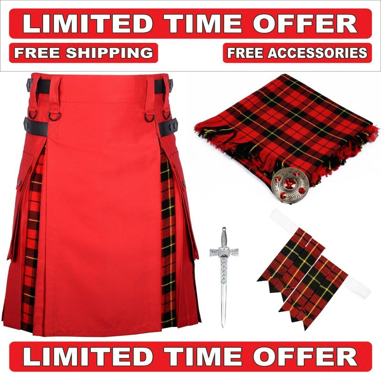 34 size red cotton Black Stewart Tartan Hybrid Utility Kilts For Men.Free Accessories & Shipping