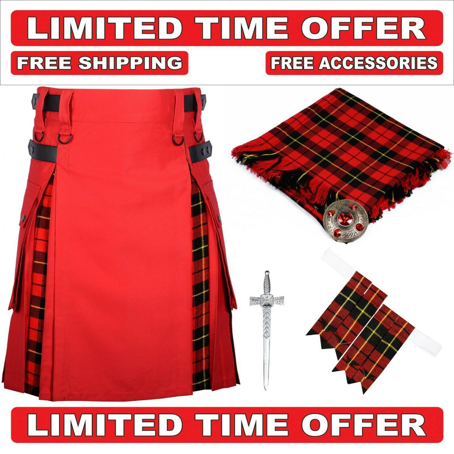 48 size red cotton Black Stewart Tartan Hybrid Utility Kilts For Men.Free Accessories & Shipping