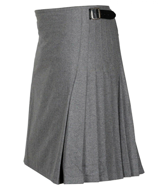60 size Grey Men's Made to Measure Traditional Scottish 8 Yard Wool Kilt
