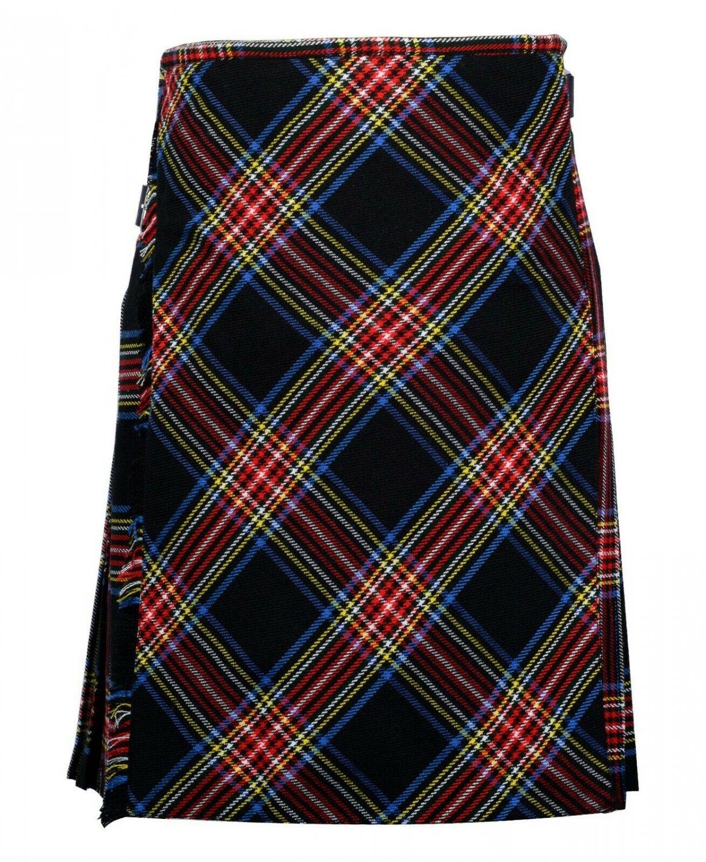 42 size black Stewart tartan Bias Apron Traditional 5 Yard Scottish Kilt for Men