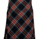 44 size black Stewart tartan Bias Apron Traditional 5 Yard Scottish Kilt for Men