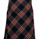 56 size black Stewart tartan Bias Apron Traditional 5 Yard Scottish Kilt for Men