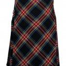 60 size black Stewart tartan Bias Apron Traditional 5 Yard Scottish Kilt for Men