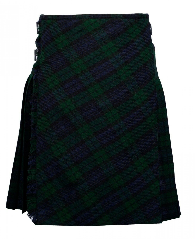 58 size Black Watch tartan Bias Apron Traditional 5 Yard Scottish Kilt for Men