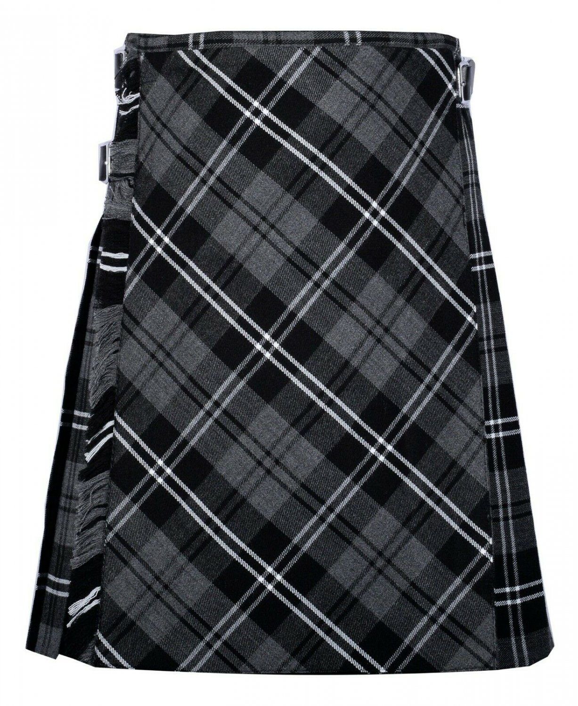 30 size Gery watch Modren tartan Bias Apron Traditional 5 Yard Scottish Kilt for Men