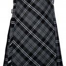 34 size Gery watch Modren tartan Bias Apron Traditional 5 Yard Scottish Kilt for Men