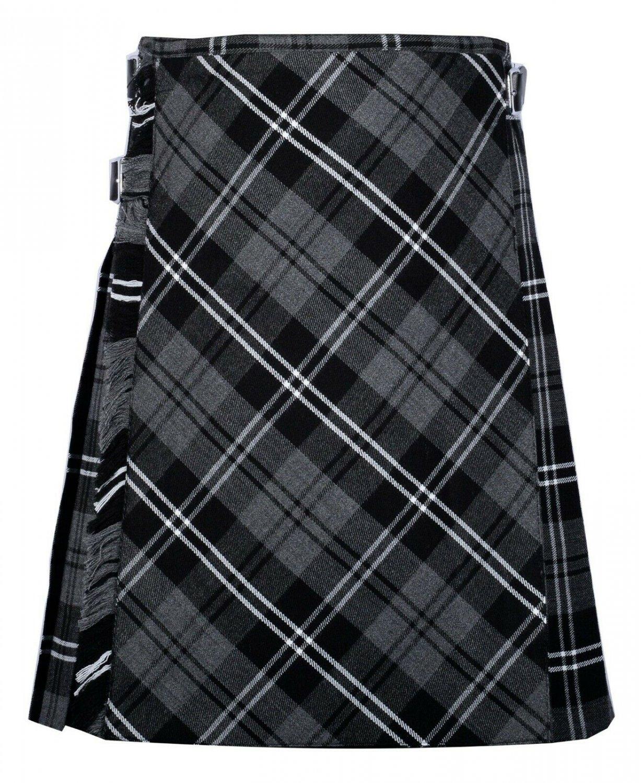 46 size Gery watch Modren tartan Bias Apron Traditional 5 Yard Scottish Kilt for Men
