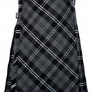 48 size Gery watch Modren tartan Bias Apron Traditional 5 Yard Scottish Kilt for Men