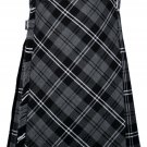 56 size Gery watch Modren tartan Bias Apron Traditional 5 Yard Scottish Kilt for Men